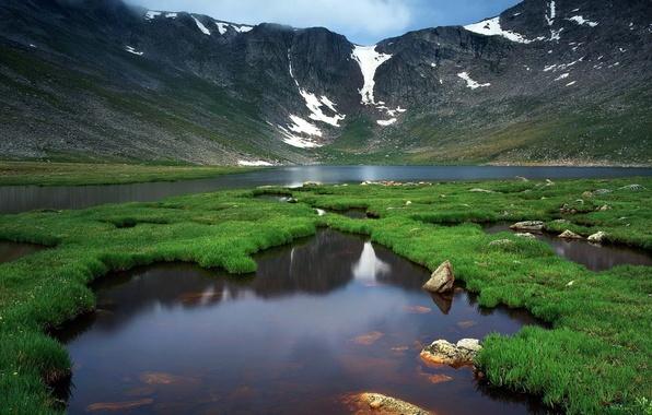Фото обои зелень, горы, природа, жизнь, река