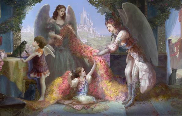 Картинка цветы, город, замок, девушки, коты, крылья, ангел, окно, арт, статуя, коши