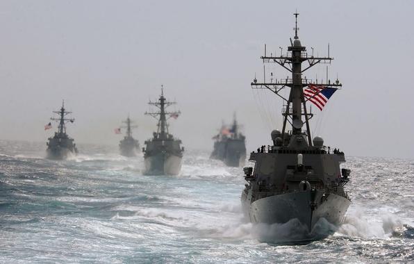 Картинка Море, Волны, Ветер, Корабли, Военные, США