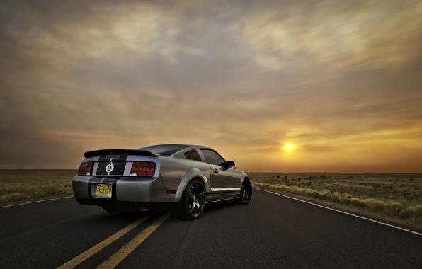 Картинка небо, солнце, закат, Mustang, Ford, Shelby, GT500, мустанг, серебристый, мускул кар, форд, шелби, muscle car, …