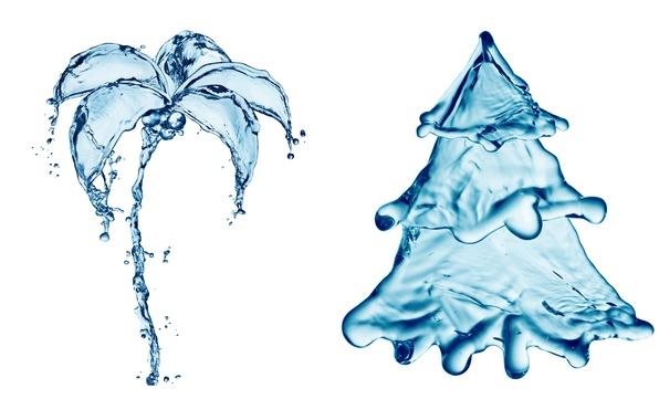 Картинка вода, капли, брызги, пальма, креатив, рисунок, елка, ель, всплеск, арт, ёлка, water, art, splash, drops, …