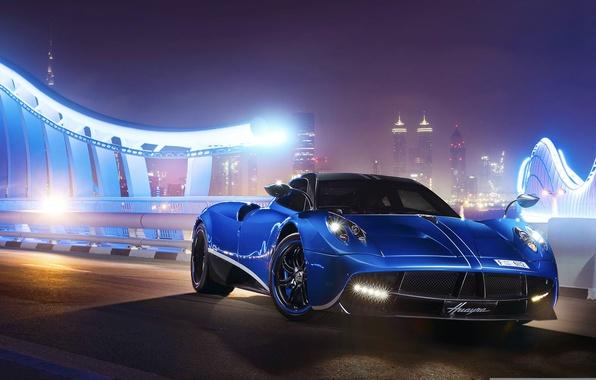 Картинка Pagani, Blue, Front, Supercar, Huayra, Track, Ligth, Nigth