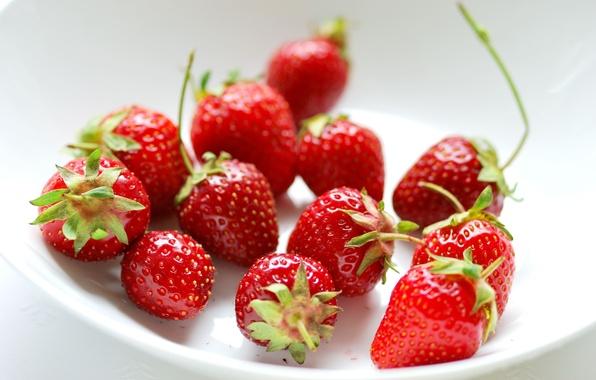 Картинка ягоды, клубника, тарелка, красные, пиала