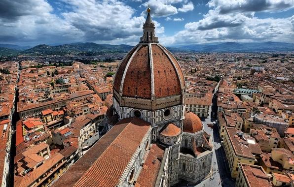 Картинка небо, облака, дома, Италия, панорама, Флоренция, улицы, квартал, Дуомо, собор Санта-Мария-дель-Фьоре, вид с колокольни Джотто