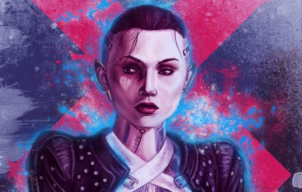 Картинка девушка, тату, Mass Effect, Jack, Subject Zero, biotic
