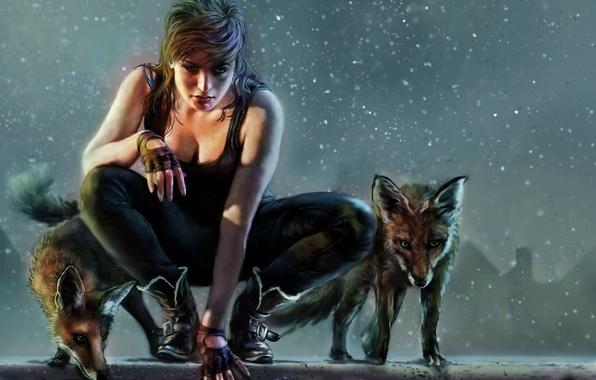 Картинка девушка, фентези, арт, лиса, охотница