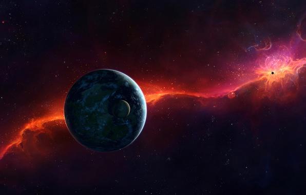 Картинка звезды, свет, вселенная, планета, спутник