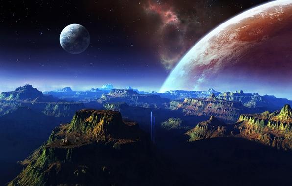Картинка космос, горы, планеты