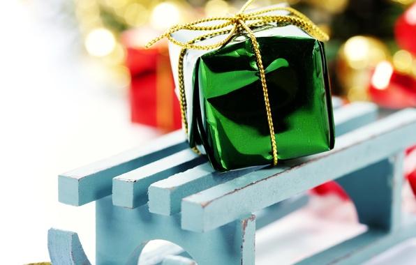 Картинка фон, праздник, подарок, обои, новый год, подарки, wallpaper, new year, широкоформатные, background, праздники, present, боке, …