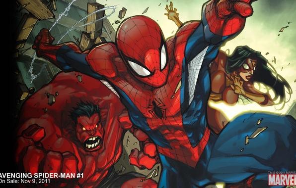 Картинка команда, Marvel, комикс, comics, Человек-паук, Red Hulk, Красный Халк, Женщина-паук, Spider-Woman, Avenging Spider-Man