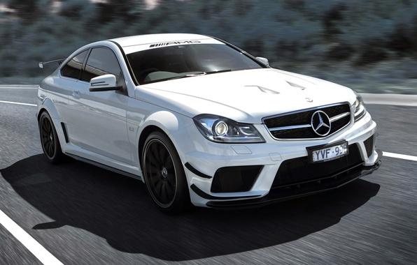 Картинка Машина, Белая, Car, Автомобиль, Beautiful, Mercedes Benz, AMG, Wallpapers, Спортивная, Красивая, Black Series, АМГ, C …