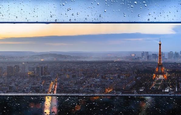 Картинка стекло, капли, город, огни, Франция, Париж, башня, дома, вечер, Эйфелева, боке