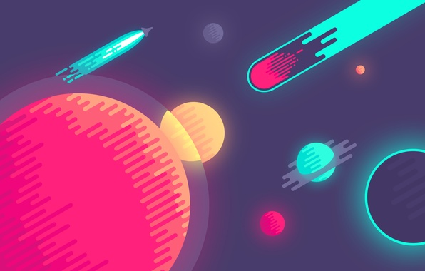 Картинка космос, круги, графика, планеты, минимализм, комета