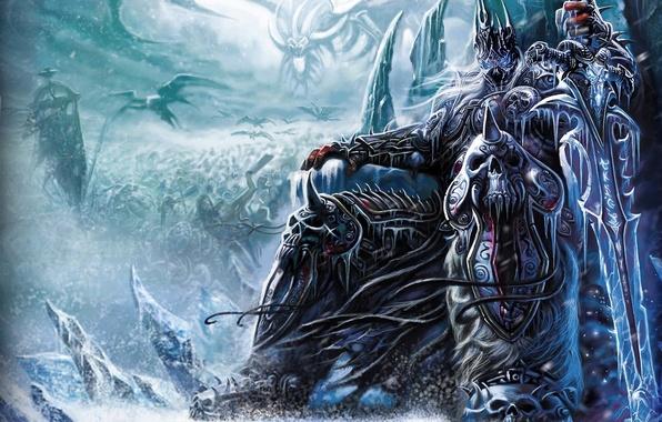 Картинка лед, снег, оружие, меч, армия, воин, трон, wow, world of warcraft, arthas