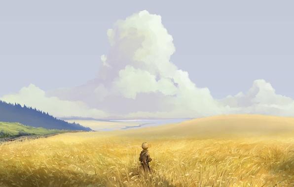Картинка поле, лес, небо, облака, природа, аниме, арт, парень, hangmoon