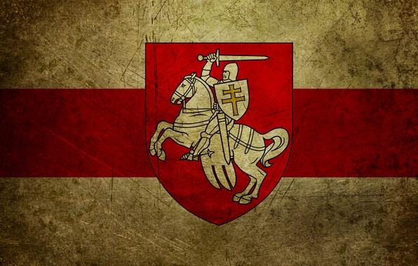 Фото обои флаг, Беларусь, герб, погоня