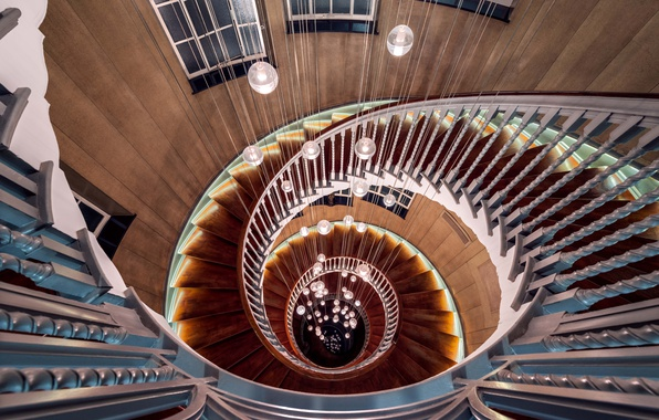 Картинка lights, wood, spiral, staircase, architecture, stairs, handrail
