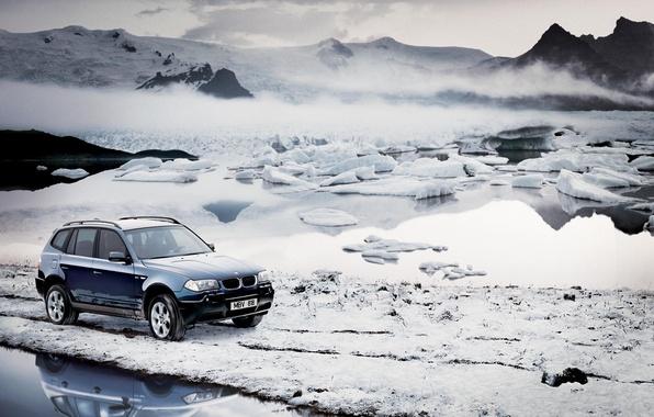 Картинка холод, зима, небо, вода, снег, горы, машины, туман, bmw, бмв, лёд, мороз, льдины