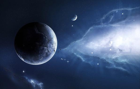 Картинка небо, космос, звезды, фантастика, планеты, метеориты