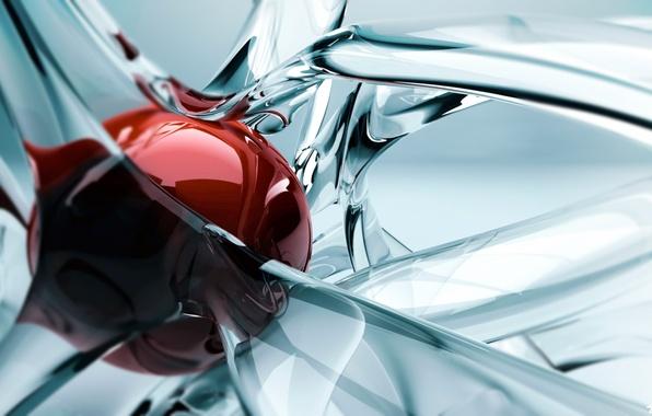 Картинка стекло, линии, абстракция, шарик, изгибы