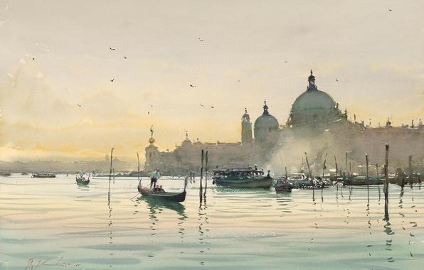 Картинка вода, птицы, город, лодки, утро, акварель, Италия, Венеция, гондола, Joseph Zbukvic