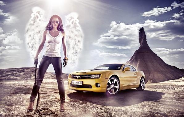 Картинка девушка, пейзаж, природа, обои, гора, крылья, ангел, Chevrolet, брюнетка, очки, wallpaper, Camaro, 2012, шевроле, брюки, …