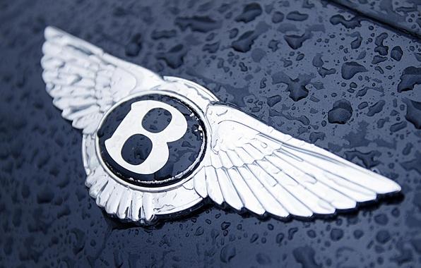 Картинка вода, капли, Bentley, логотип, капот, значек