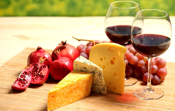 Картинка вино, красное, сыр, бокалы, виноград, фрукты, гранат