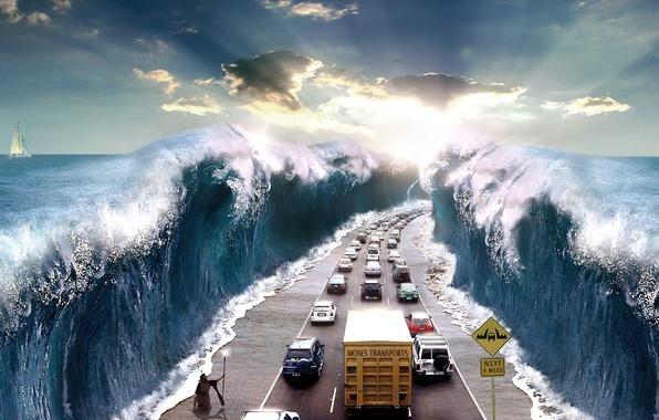 Картинка дорога, море, лучи, машины, абстракция, путь, слонце, работа, опасность, стихия, Иисус, транспорт, знак, сюрреализм, расступилось, …
