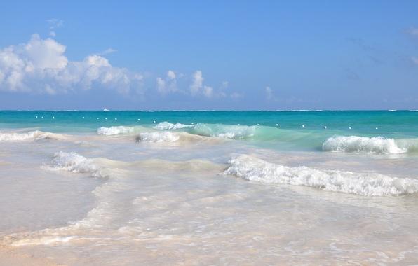 Картинка песок, море, волны, пляж, вода, океан, отдых, релакс, курорт, доминикана