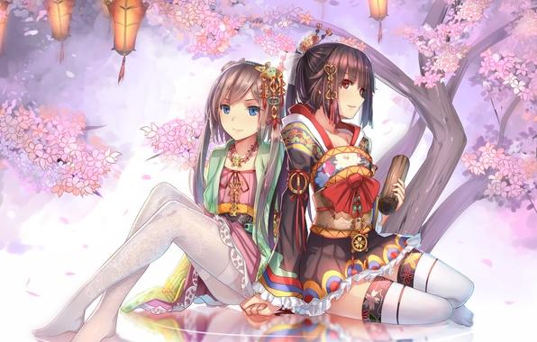 Картинка цветы, девушки, чулки, аниме, лепестки, сакура, арт, ac xsk