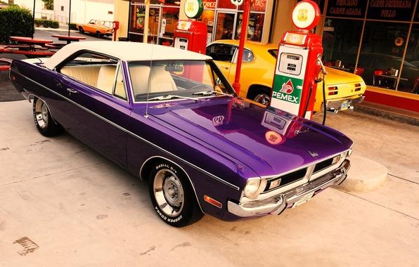 Картинка мечта, заправка, Dodge, америка, додж, сша, 1970, Plymouth, america, usa, плимут, dart, Duster, дарт, route …