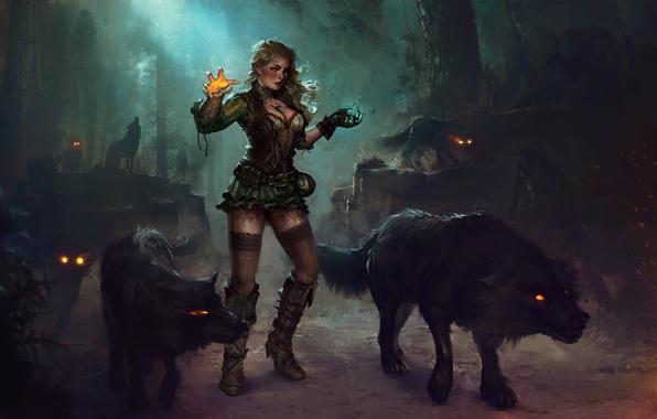 Картинка лес, девушка, ночь, магия, платье, арт, блондинка, маг, волки, ведьма