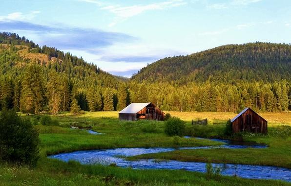 Картинка лес, небо, трава, деревья, горы, дом, река, ручей, долина, домик