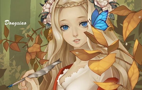 Картинка листья, цветы, перо, бабочка, арт, девочка, dong xiao
