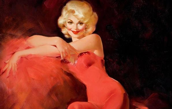 Картинка взгляд, руки, прическа, живопись, красное платье, холст, шик, Edward Runci