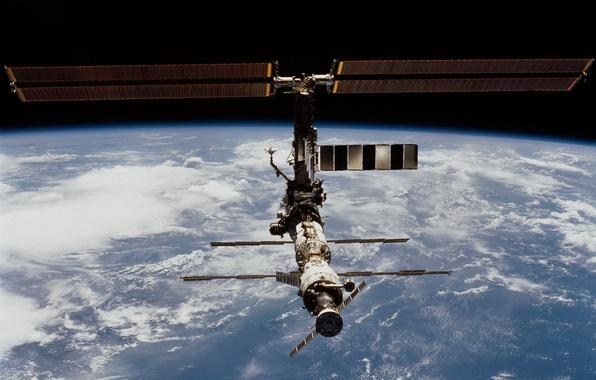 Картинка космос, Земля, МКС