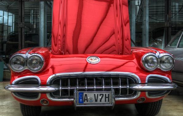 Картинка car, красный, фары, капот, решетка, hdr, red, corvette, бампер