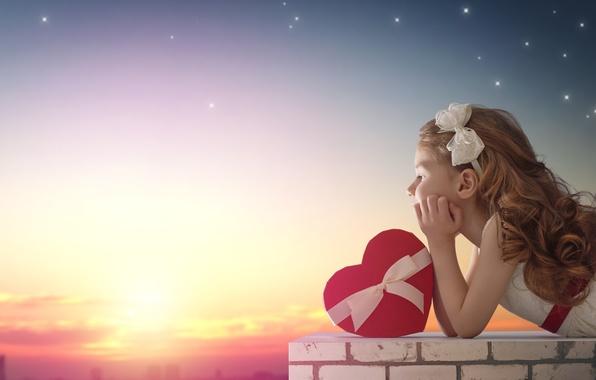 Фото обои девочка, сердце, любовь, romantic, love, heart, balloon, закат