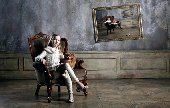 Картинка картина, кресло, девочка, собачка