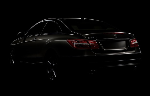 Картинка машины, widescreen, тачки, мерседес, cars, auto walls, black style, mercedes benz e class coupe