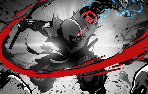 Картинка глаз, меч, катана, руки, капюшон, зомби, удар, zombie, кимоно, ниндзя, киборг, ток, ninja, механическая рука, …