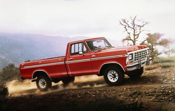 Картинка дорога, небо, красный, Ford, пыль, форд, классика, пикап, ф-150, F-150, Ranger, 1978, рэйнджер