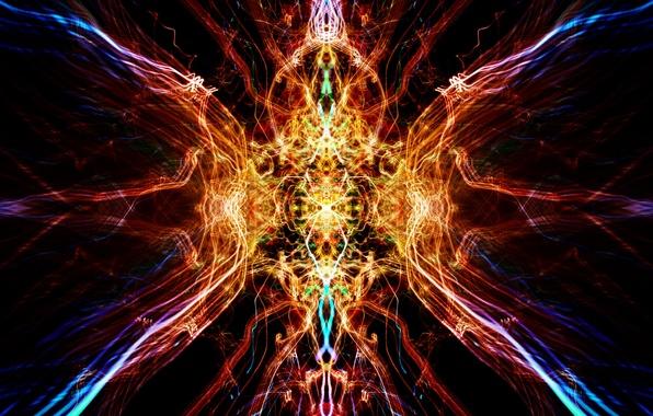 Картинка свет, отражение, симметрия, калейдоскоп