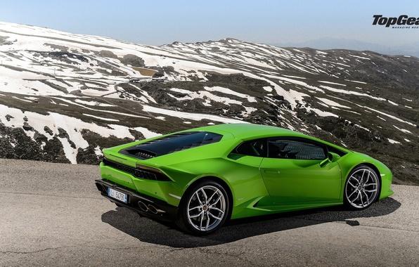Картинка Lamborghini, Top Gear, Green, Road, Supercar, Rear, Huracan, LP610-4