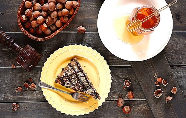 Картинка еда, шоколад, мед, ложка, торт, пирожное, орехи, десерт, сладкое, лесные, баночка, кусочек