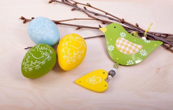 Картинка ветки, праздник, птица, сердце, яйца, Пасха, фигурки, Easter, крашенки