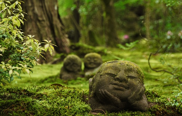 Картинка Япония, храм, Japan, Kyoto, скульптуры, Ohara, Sanzen-in Temple