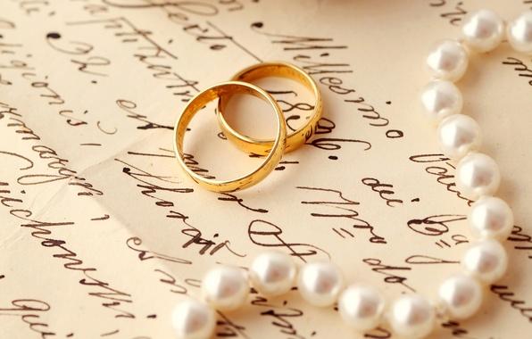 Картинка письмо, кольца, жемчуг, свадьба, обручальные