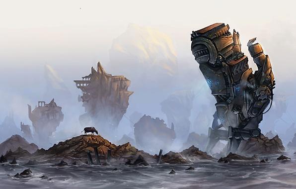 Картинка море, туман, камни, скалы, механизм, робот, корова, руины, гигантский